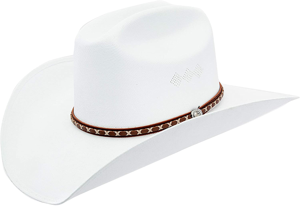 "<br><br><strong>Queue Essentials</strong> Classic Cattleman Straw Cowboy Hat, $, available at <a href=""https://www.amazon.com/Queue-Essentials-Western-Cowgirl-X-Large/dp/B07QTP8SX9/ref=sr_1_24?dchild=1&keywords=white+cowboy+hat&qid=1602182130&sr=8-24"" rel=""nofollow noopener"" target=""_blank"" data-ylk=""slk:Amazon"" class=""link rapid-noclick-resp"">Amazon</a>"