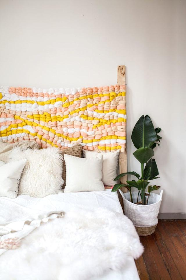 "<p>Perfect for novice DIY-ers, this sunny woven headboard is a crafty way to make your space more cozy. </p><p><a href=""https://www.pinterest.com/pin/774124919553708/"">See the original post on Pinterest</a></p>"