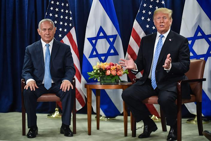 President Donald Trump meets with Israeli Prime Minister Benjamin Netanyahu on Sept. 26, 2018, in New York on the sidelines of the U.N. General Assembly.