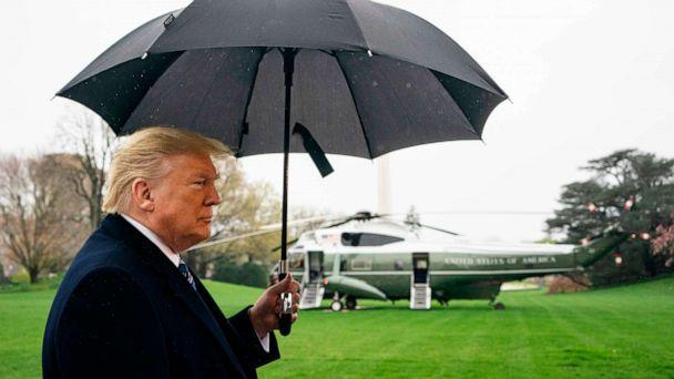 PHOTO: President Donald Trump leaves the White House in Washington on March 28, 2020 in the direction of Norfolk, Virginia to attend the departure ceremony for the USNS Comfort hospital ship towards New York. (Alex Edelman / AFP via Getty Images)