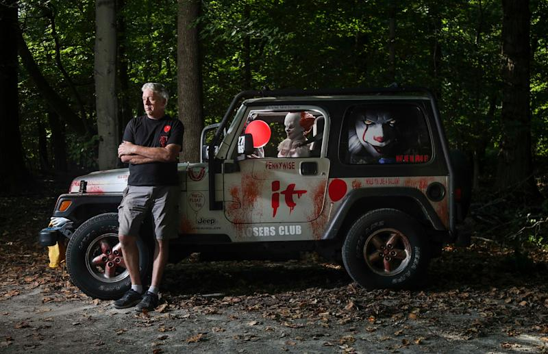 Andrew Johnson's It-themed Jeep Wrangler is bound to turn a few heads in traffic. The West Point resident decked out a 2005 right-side steering Jeep Wrangler -- the ones used for mail and postal deliveries -- with the murderous clown Pennywise 'driving' on the left and fake blood sprayed all over.