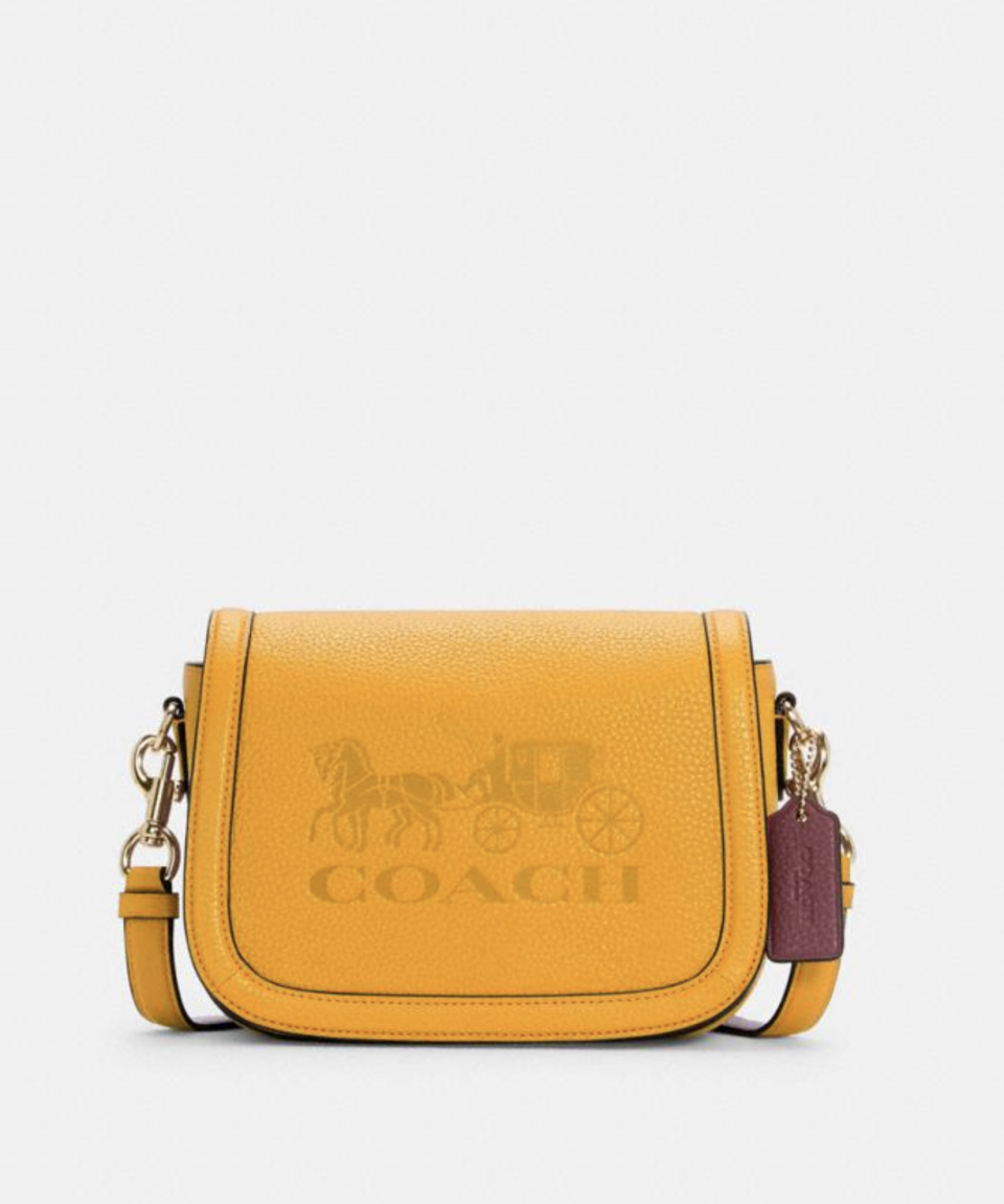 Saddle Bag With Horse And Carriage in Ochre/Vintage Mauve (Photo via Coach Outlet)