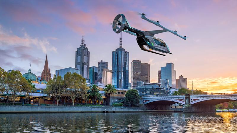 Pictured: An Uber Air flying car travelling across Melbourne. Image: Uber