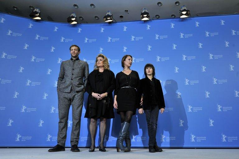"(LtoR) US French actor Paul Hamy, French actress Catherine Deneuve, French director Emmanuelle Bercot and actor Nemo Schiffman pose during a photocall for the film ""On My Way"" (Elle s'en va) competing in the 63rd Berlin International Film Festival Berlinale in Berlin on February 15, 2013"