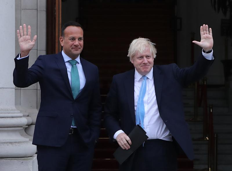Mr Johnson meets Taoiseach Leo Varadkar in Government Buildings during his visit to Dublin on Monday (Picture: PA)