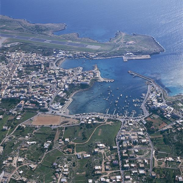 An aerial view of Lampedusa.