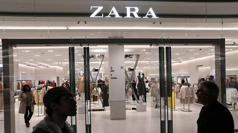 People shop at a Zara store during the grand opening of The Hudson Yards development, a residential, commercial, and retail space on Manhattan's West side in New York City