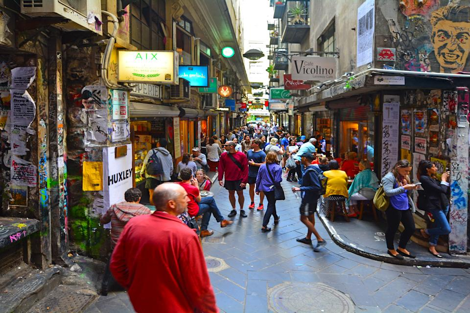 MELBOURNE - APR 13 2014:Pedestrian and dinners at Melbourne cafe and restaurant Centre Place Lane in Melbourne Victoria, Australia. (Photo by: Avalon/Universal Images Group via Getty Images)
