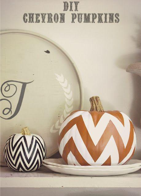 "<p>This chevron trend is still pretty ubiquitous as far as patterns go, and these monochromatic pumpkins seriously nail it. </p><p><em><a href=""http://www.mysweetsavannahblog.com/2012/09/diy-chevron-pumpkins.html"" rel=""nofollow noopener"" target=""_blank"" data-ylk=""slk:Get the tutorial at My Sweet Savannah »"" class=""link rapid-noclick-resp"">Get the tutorial at My Sweet Savannah »</a></em></p>"