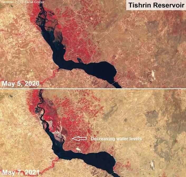 This combination of handout images made available by the European Space Agency shows two satellite false colour images captured on May 5, 2020 (top) and May 7, 2021 of decreasing water levels in Syria's Tishrin reservoir (AFP/-)