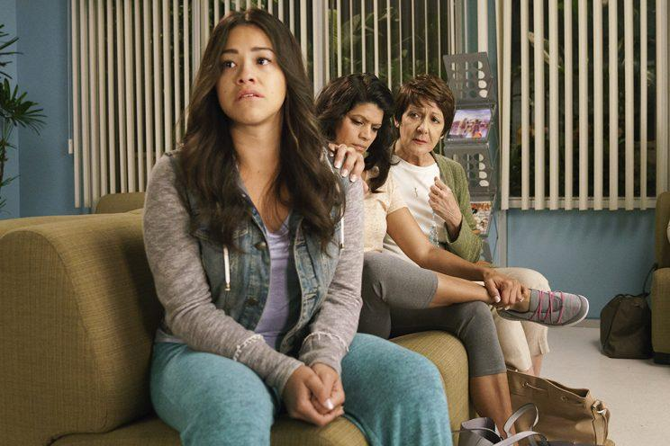 Gina Rodriguez as Jane, Andrea Navedo as Xo, and Ivonne Coll as Alba (Credit: Michael Desmond/The CW)