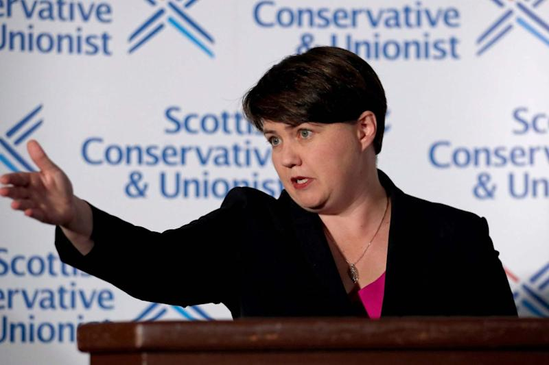 Ruth Davidson at the press conference in Edinburgh on Thursday (PA)