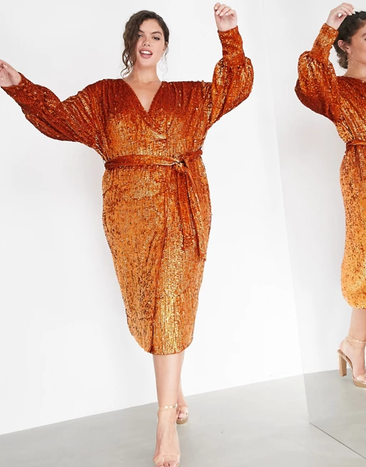 "<br><br><strong>ASOS EDITION</strong> Curve Sequin Wrap Midi Dress In Rust, $, available at <a href=""https://go.skimresources.com/?id=30283X879131&url=https%3A%2F%2Fwww.asos.com%2Fus%2Fasos-edition%2Fasos-edition-curve-sequin-wrap-midi-dress-in-rust%2Fprd%2F14824056%3Fcolourwayid%3D16646980%26SearchQuery%3D%26cid%3D27673"" rel=""nofollow noopener"" target=""_blank"" data-ylk=""slk:ASOS"" class=""link rapid-noclick-resp"">ASOS</a>"