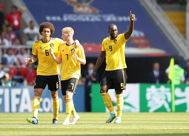 Soccer Football - World Cup - Group G - Belgium vs Tunisia - Spartak Stadium, Moscow, Russia - June 23, 2018 Belgium's Romelu Lukaku celebrates scoring their second goal with Kevin De Bruyne and Axel Witsel REUTERS/Carl Recine