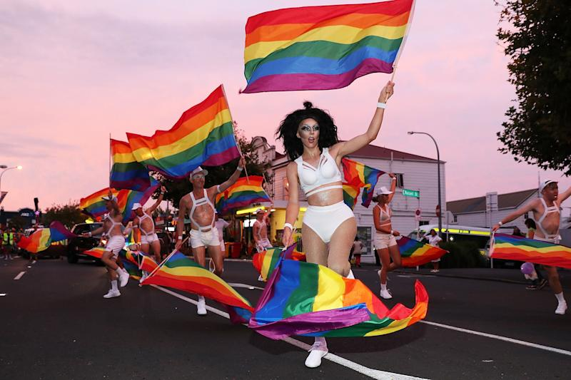 Dancers in the parade on Feb. 17, 2018 in The Auckland Pride Parade.