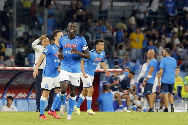 Kalidou Koulibaly (C) scored his second goal in as many games in Napoli's rout of Udinese (AFP/Carlo Hermann)
