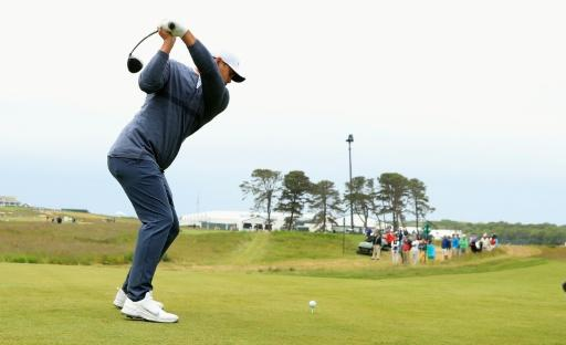Brooks Koepka of the US plays his shot from the 16th tee during a practice round prior to the 2018 US Open, at Shinnecock Hills Golf Club in Southampton, New York, on June 13