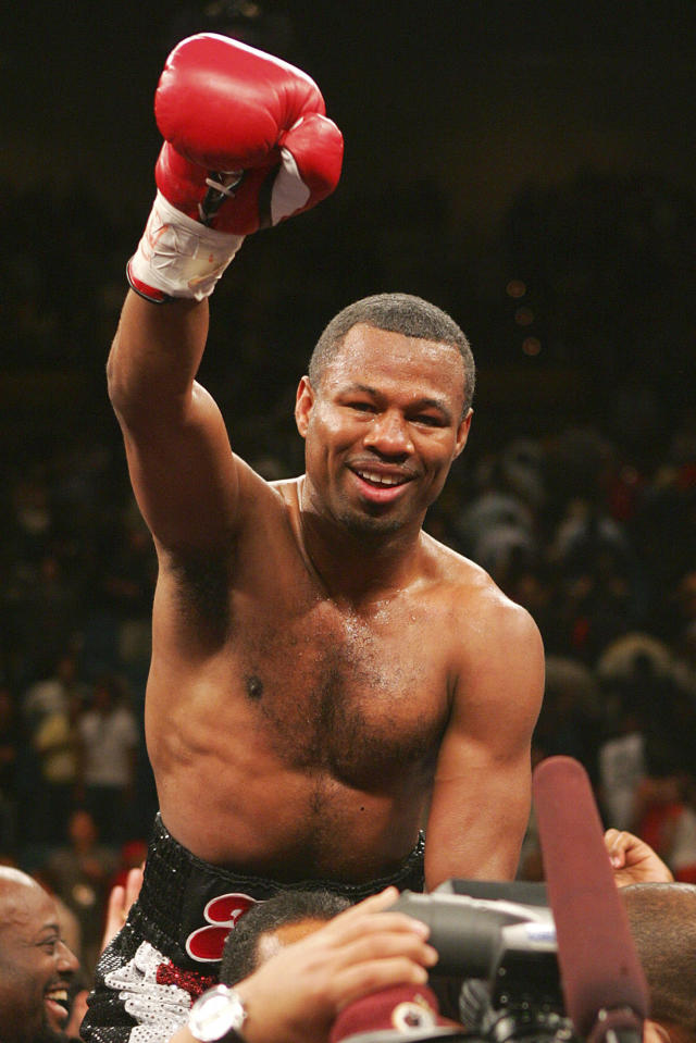 FILE - In this July 15, 2006, file photo, Shane Mosley celebrates his sixth round TKO victory over Fernando Vargas in a junior middleweight boxing match, in Las Vegas. Mosley was elected to the International Boxing Hall of Fame, Wednesday, Dec. 4, 2019. (AP Photo/Eric Jamison, File)