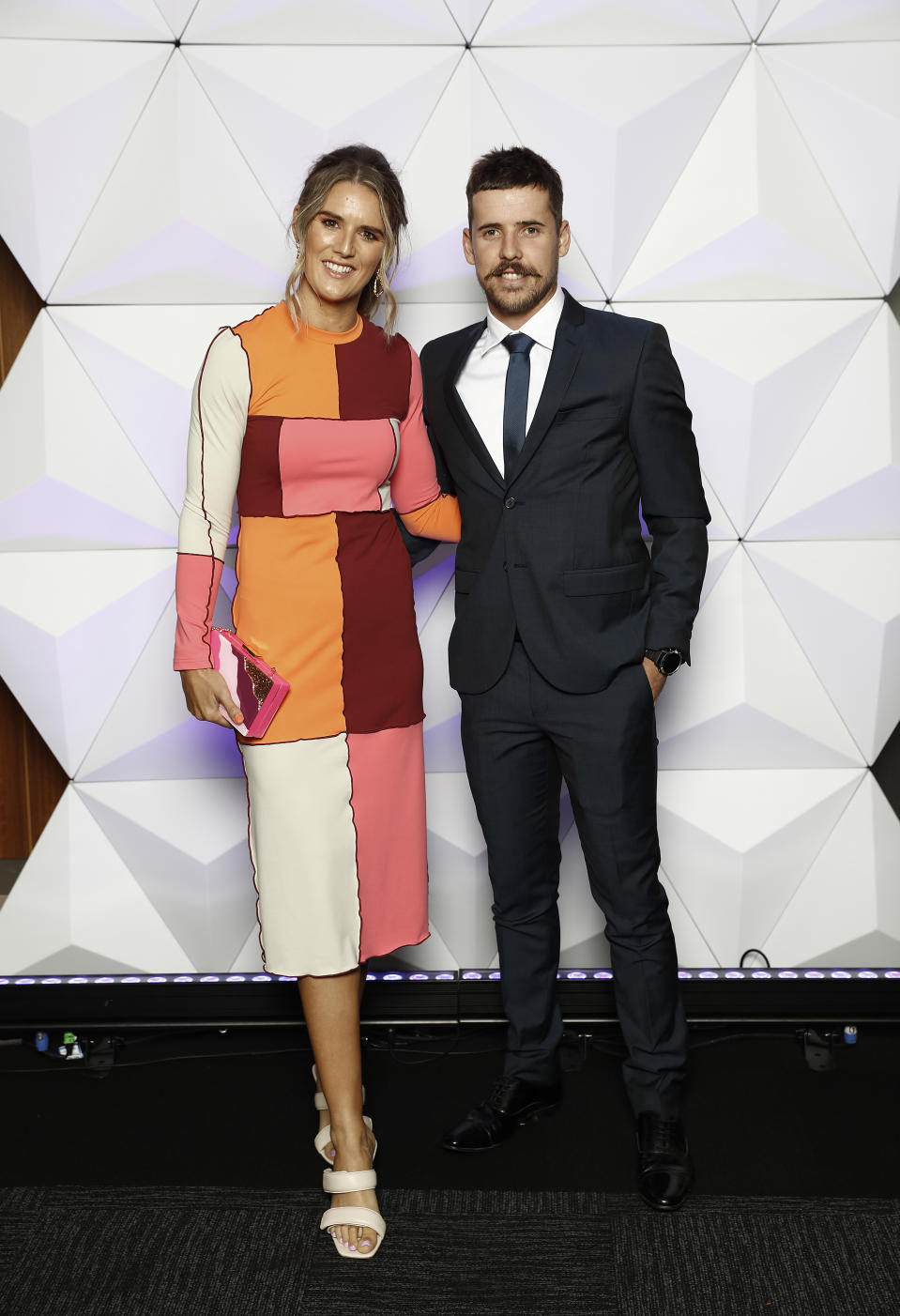 Jake Lloyd of the Swans and partner Zoe Heard attend the Sydney Brownlow Medal Function at the Sydney Cricket Ground during the 2020 AFL Brownlow Medal count on October 18, 2020 in Sydney, Australia.
