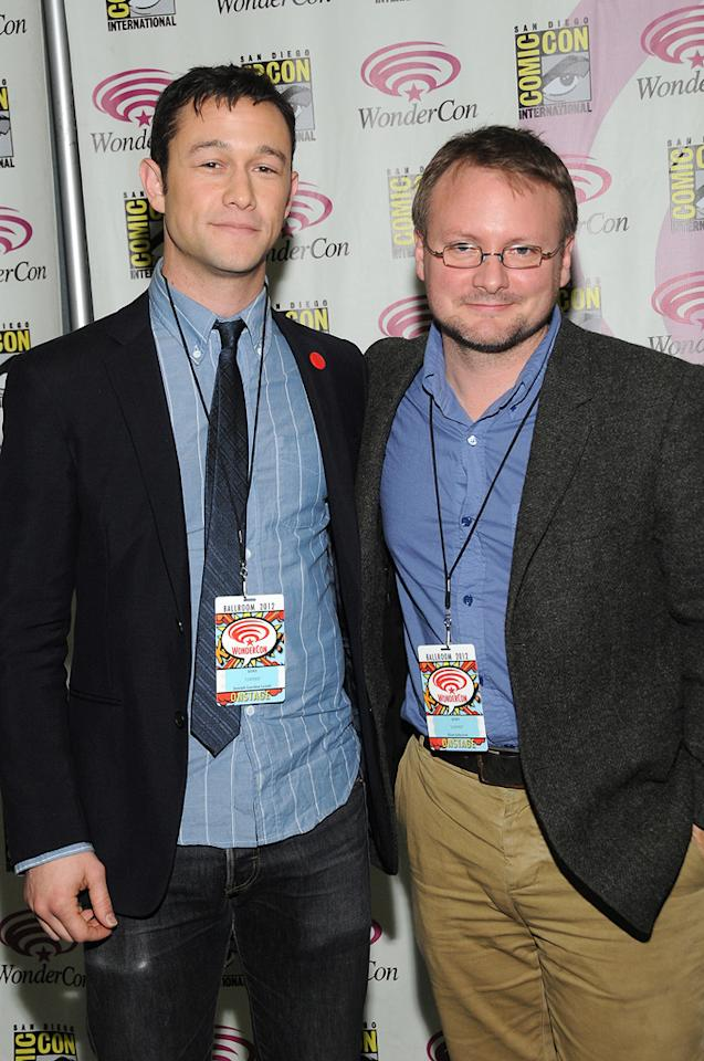 "Joseph Gordon-Levitt and Rian Johnson attend the ""Looper"" conference at  WonderCon 2012 - Day 1 at Anaheim Convention Center on March 17, 2012 in  Anaheim, California."