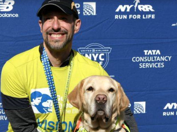 Blind man makes history by finishing New York City Half Marathon aided only by dogs