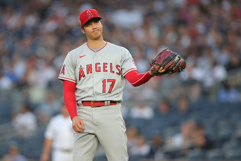 Angels starting pitcher Shohei Ohtani reacts during the first inning against the New York Yankees at Yankee Stadium.