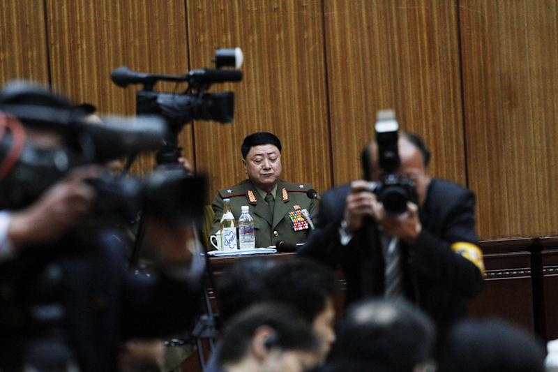 Kwak Chol Hui, deputy director of North Korea's National Defense Commission, attends a news conference in Pyongyang on Saturday March 3, 2012 to discuss joint U.S.-South Korean war games which North Korea says threatens regional peace and stability. South Korea and the U.S. said the war games taking place in the South are routine exercises. Pyongyang sees the drills as a major affront coming two months after the death of leader Kim Jong Il. (AP Photo/Kim Kwang Hyon)