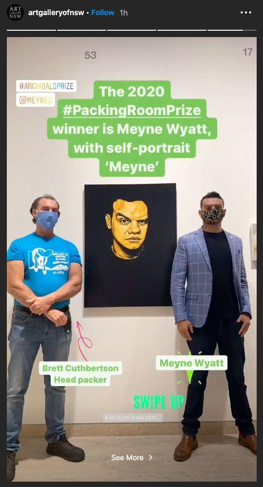 Actor and artist Meyne Wyatt was announced the Archibald's Packing Room Prize winner on Thursday for his self-portrait (Photo: Instagram/artgalleryofnsw)