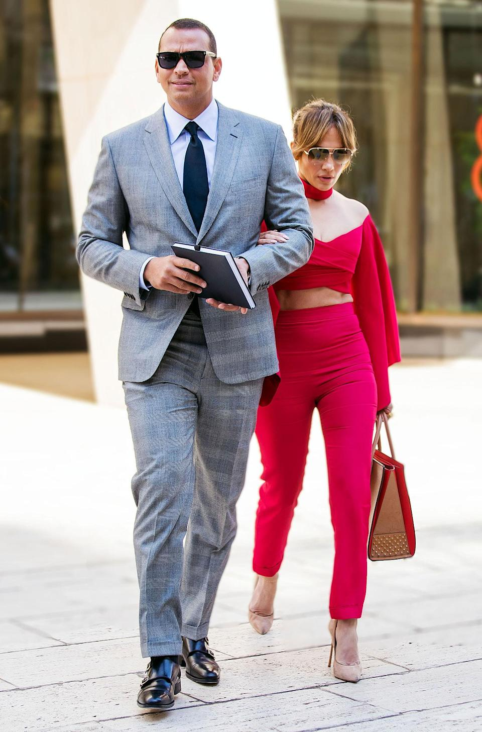 "<p>PEOPLE <a href=""https://people.com/celebrity/jennifer-lopez-alex-rodriguez-dating/"" rel=""nofollow noopener"" target=""_blank"" data-ylk=""slk:confirmed in March 2017 that the pair were dating"" class=""link rapid-noclick-resp"">confirmed in March 2017 that the pair were dating</a>. </p> <p>""She seems excited,"" a source close to Lopez told PEOPLE at the time. ""He has been around her family and she really likes that he is a dad. She is aware, though, that he is a ladies' man too and is being cautious. For now, it's just fun. She is single and enjoys dating.""</p>"