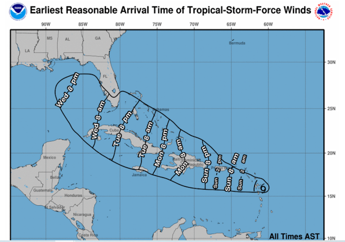 Haiti could feel Tropical Storm Grace's winds as early as Monday night, according to the National Hurricane Center.