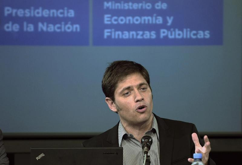 Argentina's Economy Minister Axel Kicillof speaks during a press conference at the Ministry in Buenos Aires on July 31, 2014 (AFP Photo/Daniel Garcia )