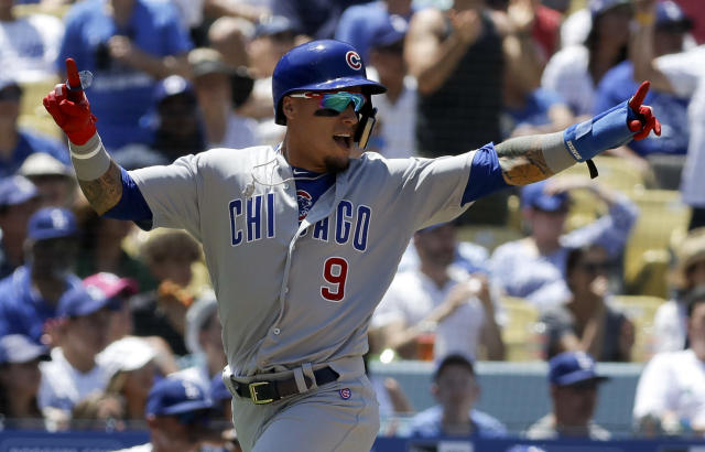 "Chicago Cubs' <a class=""link rapid-noclick-resp"" href=""/mlb/players/9557/"" data-ylk=""slk:Javier Baez"">Javier Baez</a> has been one of fantasy's biggest success stories this season behind a mix of power and speed. (AP Photo/Chris Carlson)"