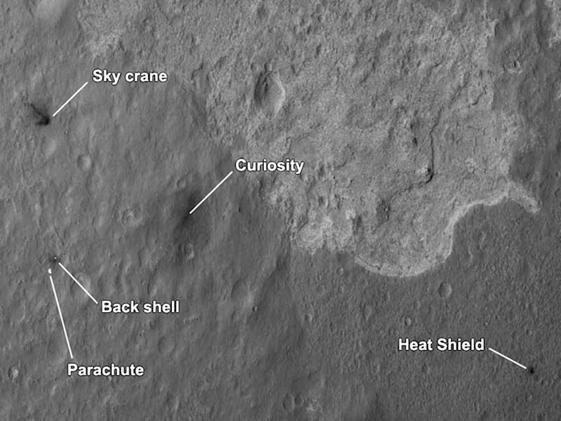 This image released by NASA on Tuesday Aug. 7, 2012 shows where Curiosity and its supporting hardware: Sky crane, Curiosity, Back shell, Parachute, and Heat Shield landed on the Martian surface after its successful landing last Sunday. (AP Photo/NASA)