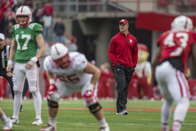 Nebraska head coach Scott Frost head coaching from the back field during the Red/White football game in Lincoln, Neb., Saturday, Apr. 20, 2018. (AP Photo/John Peterson)