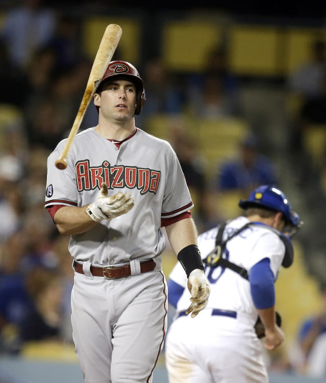 Arizona Diamondbacks' Paul Goldschmidt tosses his bat after striking out during the eighth inning a baseball game against the Los Angeles Dodgers on Monday, Sept. 9, 2013, in Los Angeles. (AP Photo/Jae C. Hong)
