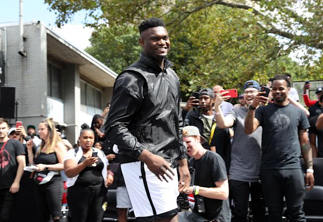 """<a class=""""link rapid-noclick-resp"""" href=""""/nba/players/6163/"""" data-ylk=""""slk:Zion Williamson"""">Zion Williamson</a> is making his rookie debut in the NBA next month. (Photo by Johnny Nunez/WireImage)"""