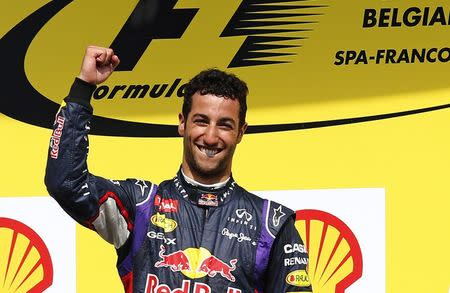 Ricciardo of Australia celebrates after winning the Belgian F1 Grand Prix in Spa-Francorchamps