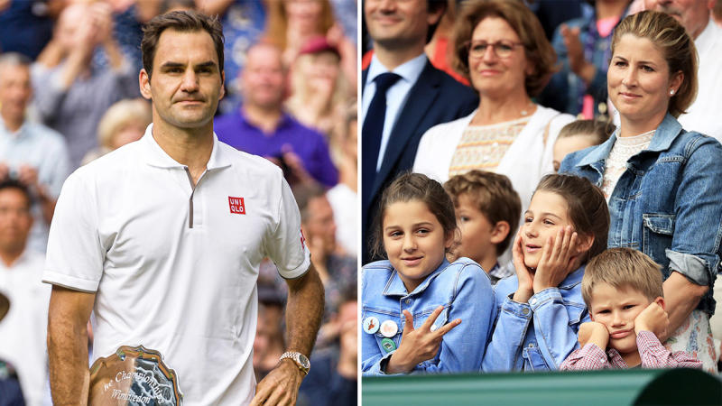Roger Federer (pictured left) has admitted he and Mirka (pictured far right) have struggled to get their children into tennis. (Getty Images)