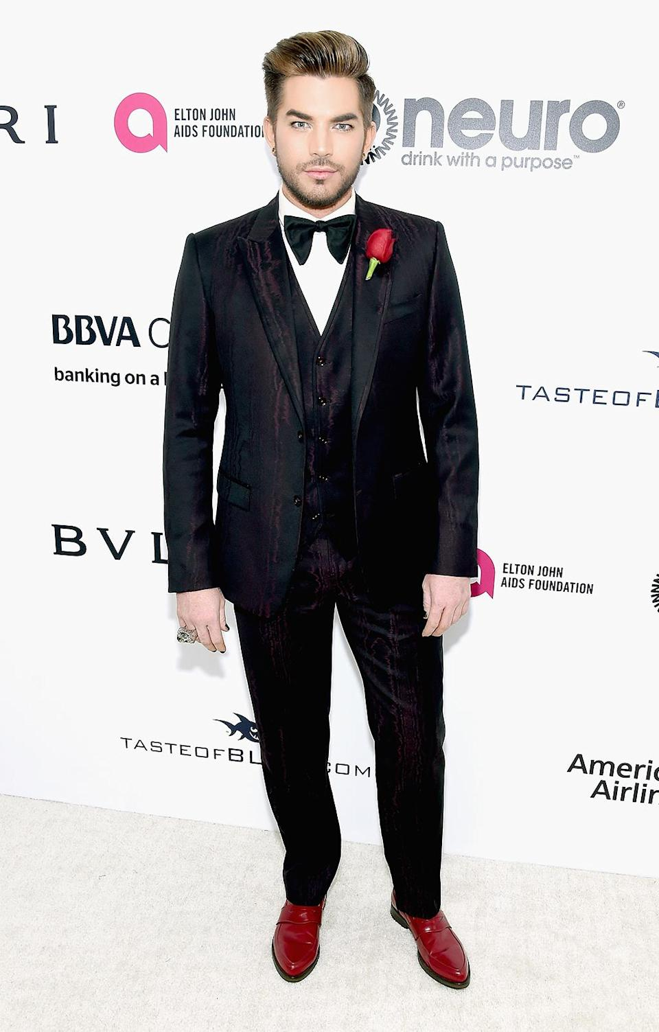 <p>Adam Lambert attends the 25th Annual Elton John AIDS Foundation's Academy Awards Viewing Party at The City of West Hollywood Park on February 26, 2017 in West Hollywood, California. (Photo by Jamie McCarthy/Getty Images for EJAF) </p>