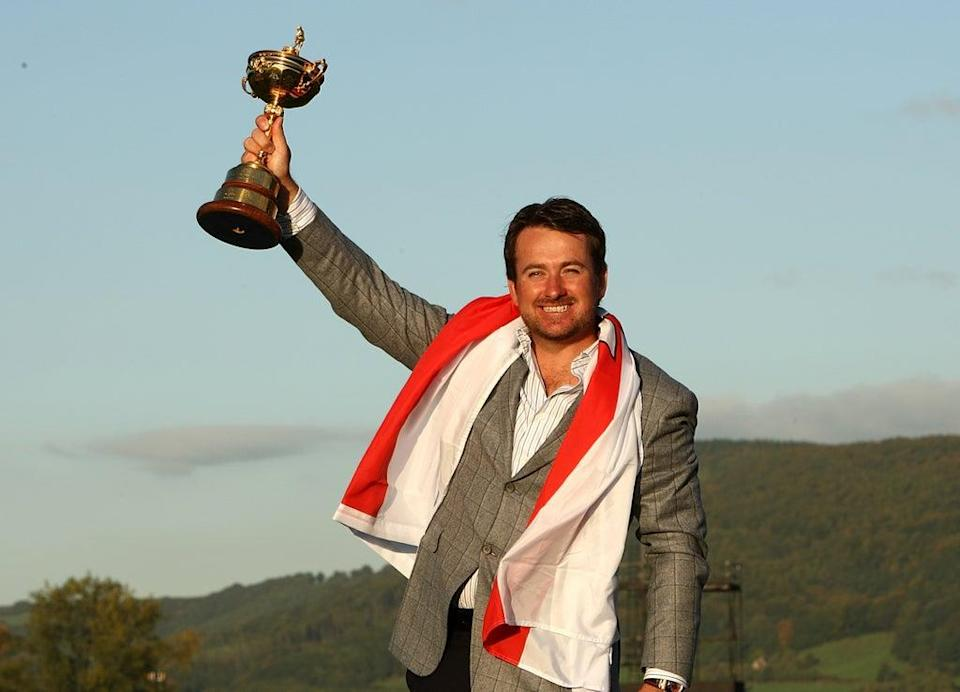 Graeme McDowell celebrates with the Ryder Cup trophy after Europe's win at Celtic Manor in 2010 (Lynne Cameron/PA) (PA Archive)