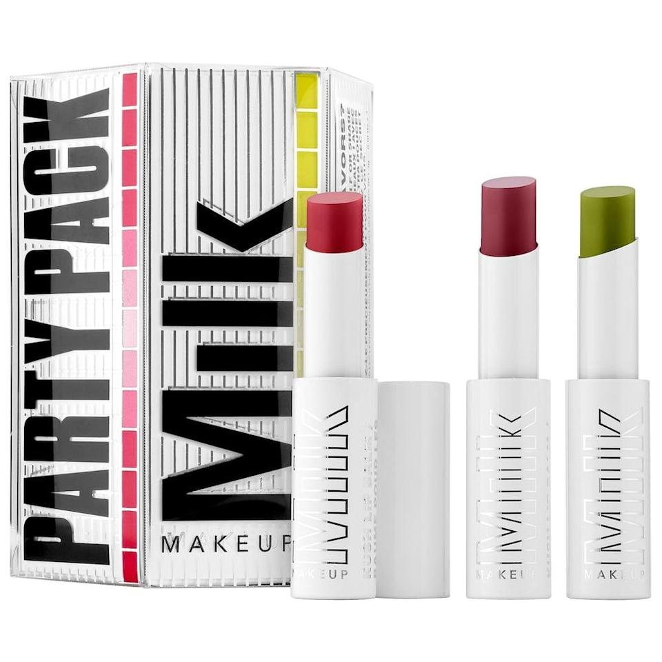 <p>Keep your lips hydrated and moisturized all season long with the <span>Milk Makeup Party Pack KUSH Lip Balm Trio</span> ($17, originally $25).</p>