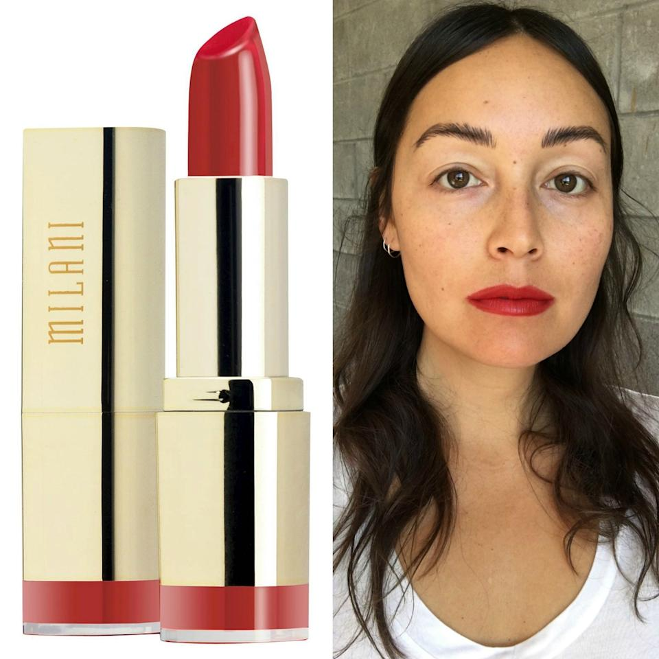 """<p>This cool-toned, classic red lipstick felt lightweight and hydrating but with surprisingly good coverage, vibrant pigment, and a velvety matte finish. At such a great price, it's worth test-driving a few of their 32 PETA- and Leaping Bunny-certified shades.</p> <p><strong>$5</strong> (<a href=""""https://shop-links.co/1633682426293744234"""" rel=""""nofollow"""">Shop Now</a>)</p>"""