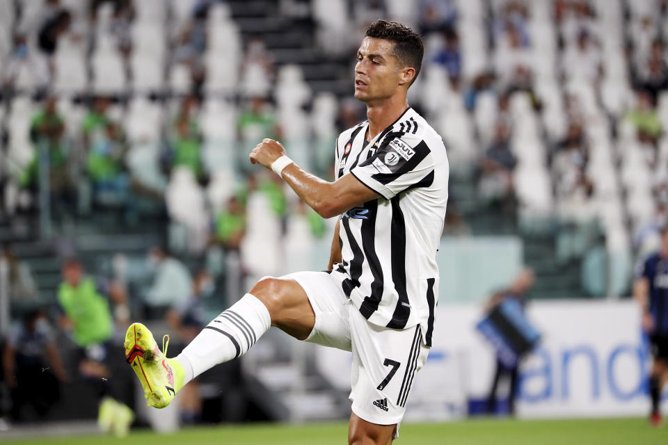Cristiano Ronaldo of Juventus reacts to a missed chance during to the pre-season friendly match between Juventus and Atalanta BC at Allianz Stadium on August 14, 2021 in Turin, Italy. (Photo by Giuseppe Cottini/NurPhoto via Getty Images)