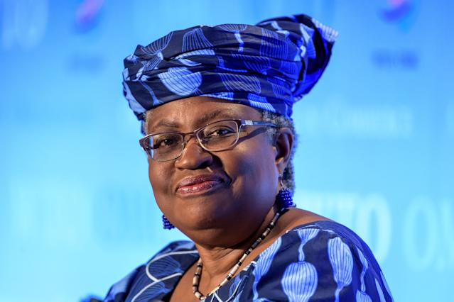 A picture taken on July 15, 2020, in Geneva shows Nigerian former Foreign and Finance Minister Ngozi Okonjo-Iweala smiling during a hearing before World Trade Organization 164 member states' representatives, as part of the application process to head the WTO as Director General. - South Korean trade minister Yoo Myung-hee on February 5, 2021 abandoned her bid to become head of the WTOm, Seoul said, clearing the way for Nigeria's Ngozi Okonjo-Iweala to become the global body's first woman and first African director-general. (Photo by Fabrice COFFRINI / AFP) (Photo by FABRICE COFFRINI/AFP via Getty Images)