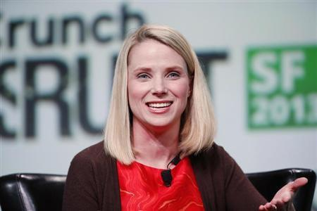 Marissa Mayer, President and CEO of Yahoo!, speaks on stage during a fireside chat session at TechCrunch Disrupt SF 2013 in San Francisco, California
