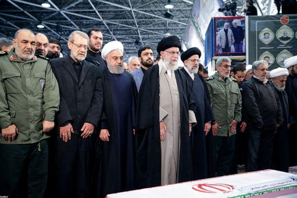 PHOTO: Iran's Supreme Leader Ayatollah Ali Khamenei and Iranian President Hassan Rouhani pray near the coffin of Iranian Major-General Qassem Soleimani in Tehran, Iran, Jan. 6, 2020. (Government of Iran via Reuters)