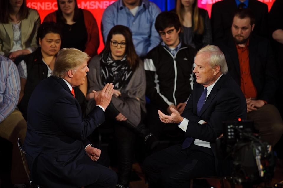 Candidate Donald Trump and MSNBC commentator Chris Matthews during a town hall in March 2016. (Photo: Tim Hiatt/MSNBC/NBCU Photo Bank via Getty Images)