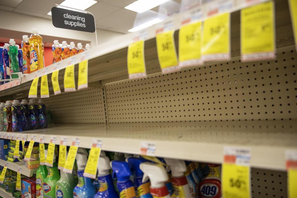 Legions of nervous hoarders are stocking up on canned goods, frozen dinners, toilet paper, and cleaning products, creating big challenges for discounters and grocery stores as well as food delivery services. (AP Photo/David Goldman)