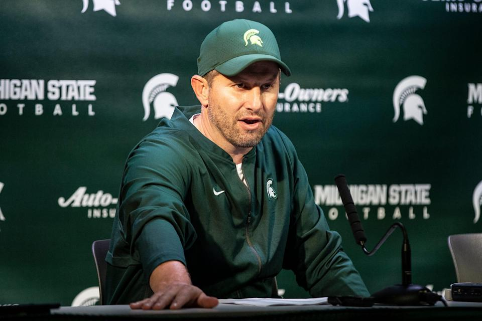 Michigan State defensive coordinator Mike Tressel answers questions after the 51-17 win over Western Michigan at Spartan Stadium, Saturday, September 7, 2019.