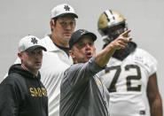 New Orleans Saints coach Sean Payton gives instructions during the team's NFL football training camp practice in Metairie, La., Tuesday, Aug. 24, 2021. (Max Becherer/The Times-Picayune/The New Orleans Advocate via AP)